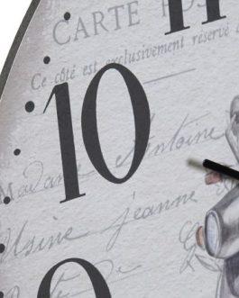 Reloj pared madera París 33,5 cm.