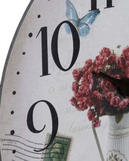 Reloj pared flores en jarrón 33,5 cm