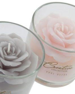 Vela cera vaso cristal flor 8x8x7,5 cm.