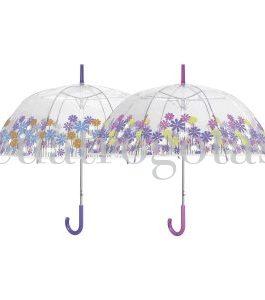 Paraguas transparente floral.