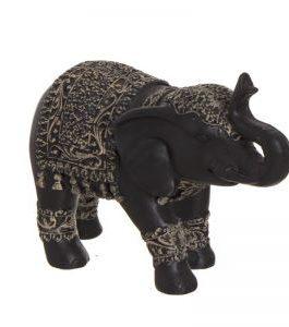 Figura elefante negro. 20x14x8 cm.