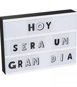 Caja de luz 87 letras negra 32×22 cm.
