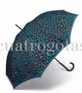 Paraguas automático Benetton estampado leopardo.