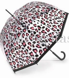 Paraguas Benetton Cúpula transparente estampado leopardo.
