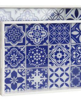 Bandeja madera/cristal azulejo