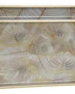 Bandeja madera/cristal tropical.
