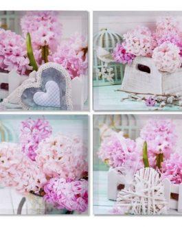 Lienzo flores 40×40 cm