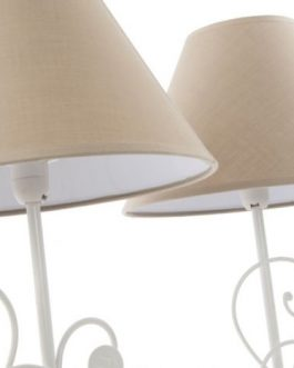 Lámpara sobremesa metal/tela 25×45 cm.