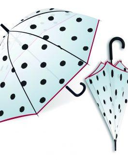Paraguas transparente topos negros.