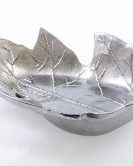 Centro cerámica plateado 53x32x11 cm.