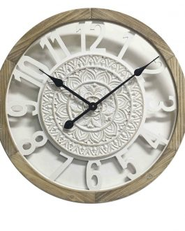 Reloj pared madera/metal 55x5x55 cm.