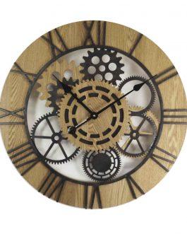 Reloj pared madera/metal 60x5x60 cm.