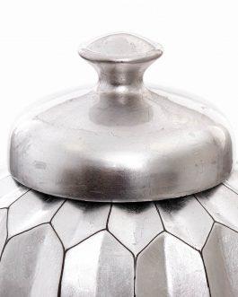 Tibor cerámica lacado en plata metalizada 24x24x49 cm.