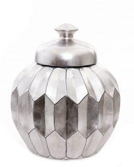 Tibor cerámica lacado en plata metalizada 27x27x31 cm.