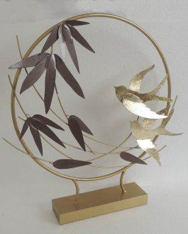 Figura metal pájaros 61x10x58 cm