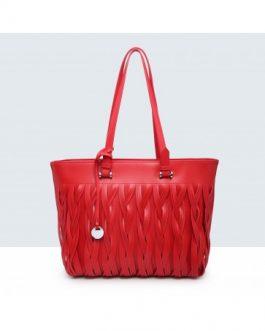 Shopper con trenzados verticales rojo.