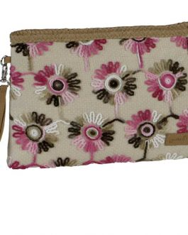 Cartera flores bordadas.