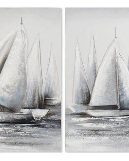 Lienzo veleros con relieve 50×70 cm