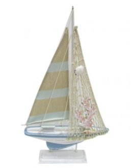 Barco velero madera 24x5x42 cm