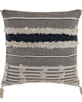 Cojín algodón 45x45cm flecos gris.