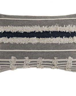 Cojín algodón 35×55 cm. flecos gris.