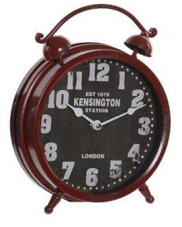 Reloj sobremesa metal envejecido granate 21x6x26 cm