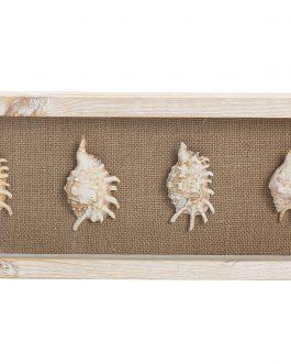 Cuadro madera/lino/cristal caracolas 20x5x55 cm