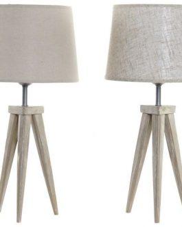 Lámpara sobremesa trípode, madera pino 30x30x57