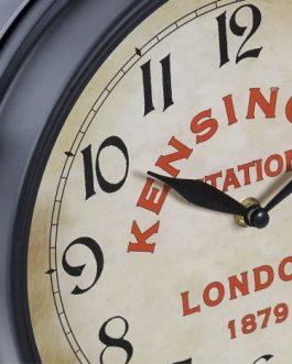 Reloj pared metal negro estación 37x9x41 cm