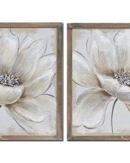 Cuadro con marco flor blanca 42×2,5×42 cm
