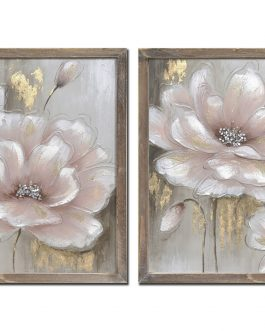 Cuadro con marco flor rosa 42×2,5×42 cm