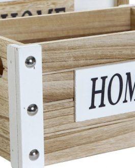 Caja paulownia/metal «HOME»