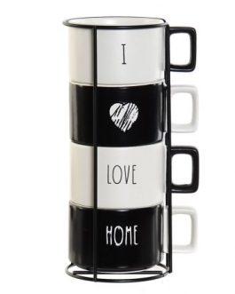 Set de café blanco y negro, 4 tazas 260 ml