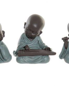 Figura resina monje con instrumento 8x5x11 cm