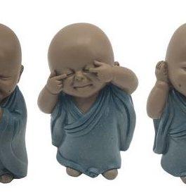 Set 3 figura monje 5x5x9,5 cm