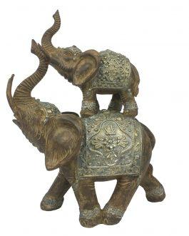 Figura resina dos elefantes 18,5×9,5×22 cm