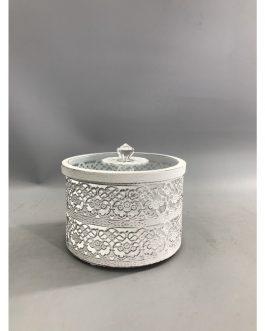 Caja redonda metal/cristal 14,5×14,5×12,5 cm