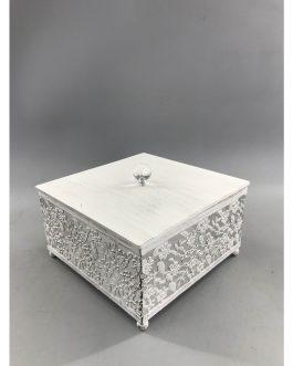 Caja cuadrada metal con tapa madera 18,5×18,5×12,8 cm