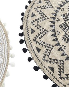Mantel individual pompones fibra/poliester  39×39 cm