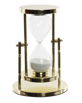 Reloj arena metal cristal dorado 15x15x22cm