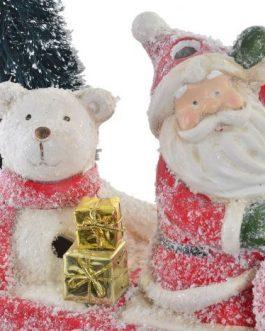 Coche Papá Noel resina decoración con LED 33x15x25cm
