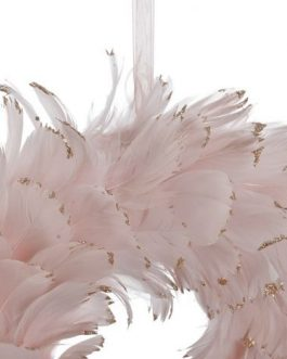 Corona plumas rosa 28x28x6 cm