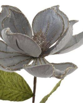Flor poliester/metal azul 16x16x60cm