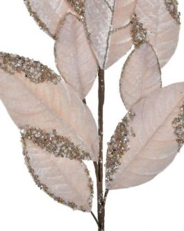 Ramo poliester/metal hojas rosa 20x2x76cm