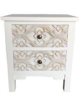 Mesita madera tallada blanco/beige 40x30x45 cm