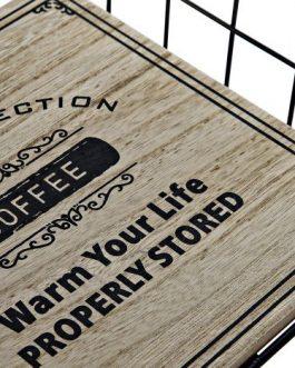 Servilletero madera/metal «coffee» 18x18x6 cm