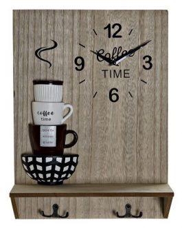 Reloj pared madera/resina «coffee» con colgador 30×11,5×40 cm