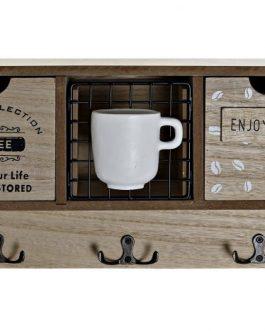 Perchero pared madera/resina «coffee»37×11,5×19 cm