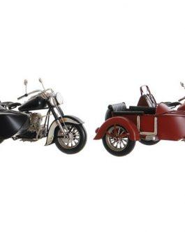 Moto con sidecar decoración metal 28x19x15 cm