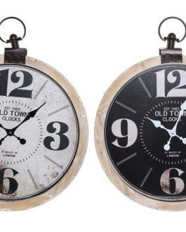 Reloj pared madera/cristal 60x7x74 cm